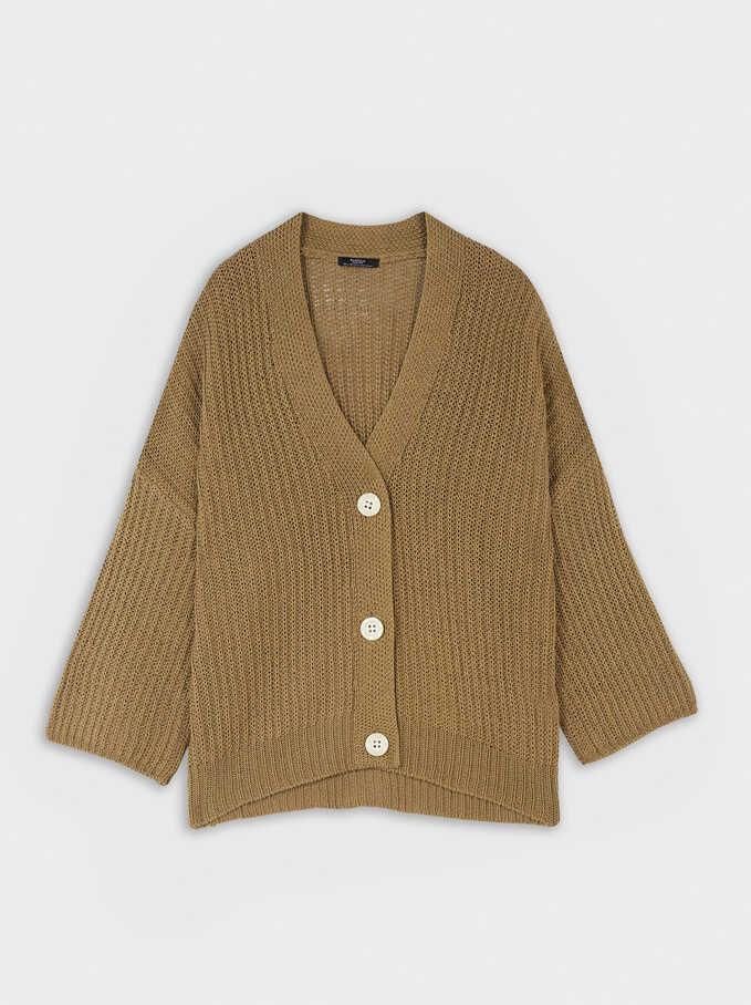 Oversize Knit Cardigan, Khaki, hi-res