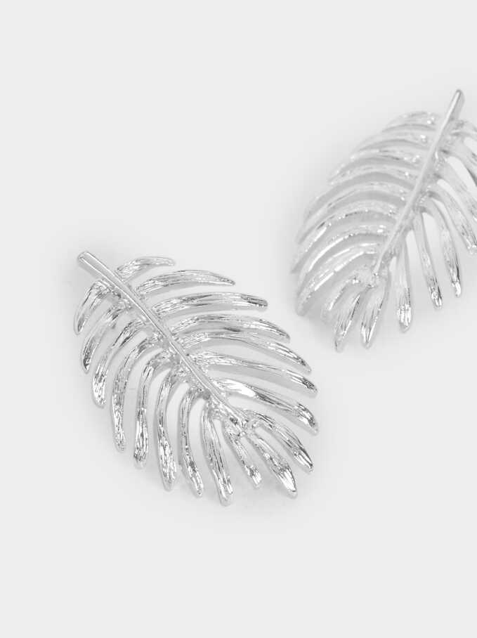 Leaf Earrings, Silver, hi-res