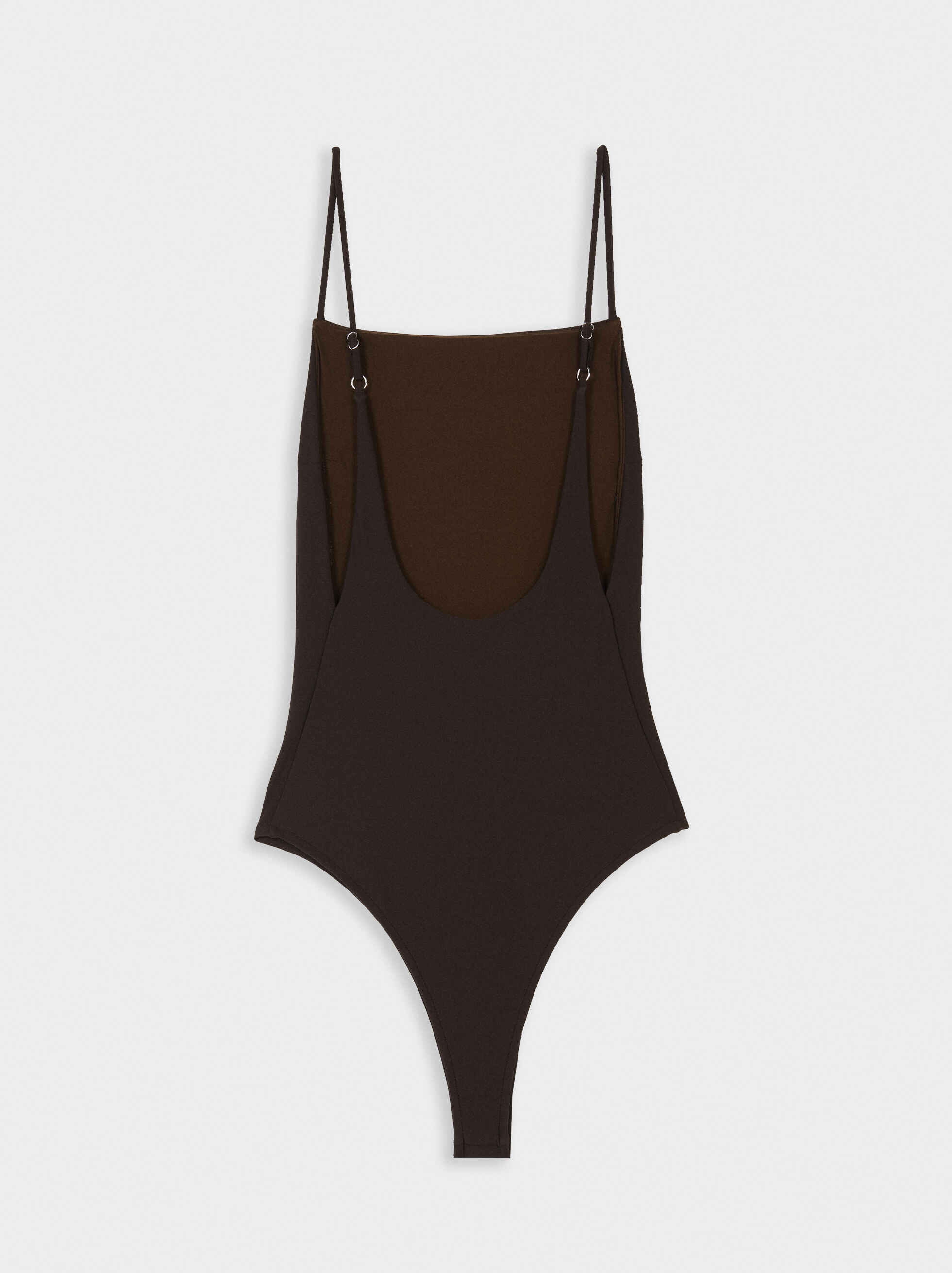 Swimming Costume With Straight Neckline, Brown, hi-res