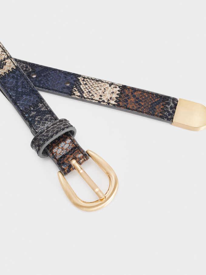 Embossed Snakeskin Print Belt, Multicolor, hi-res