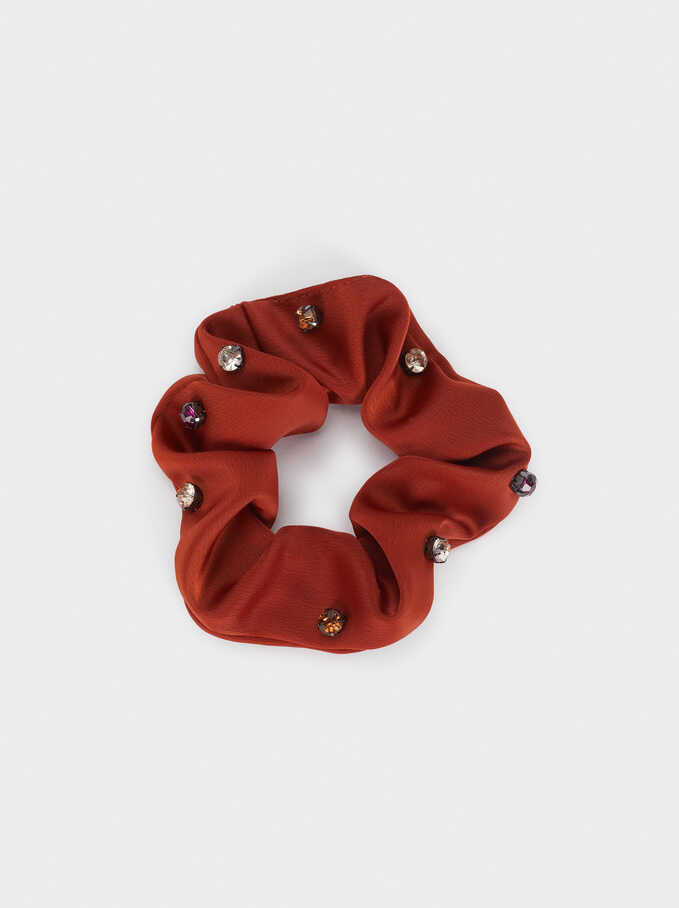 Scrunchie With Contrast Details, Brick Red, hi-res