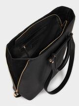 Tote Bag With Faux Suede Trim, Black, hi-res