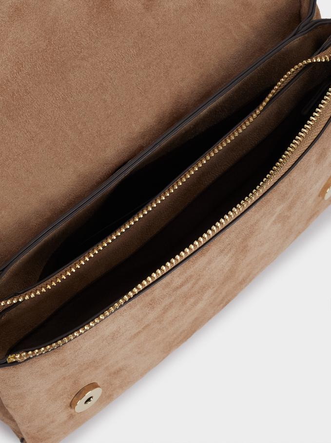 Leather Crossbody Bag With Patchwork Design, Beige, hi-res
