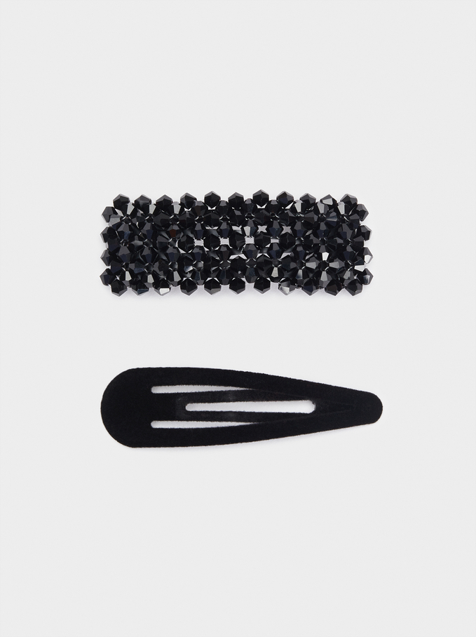 Lot De Barrettes À Cheveux À Strass, Noir, hi-res