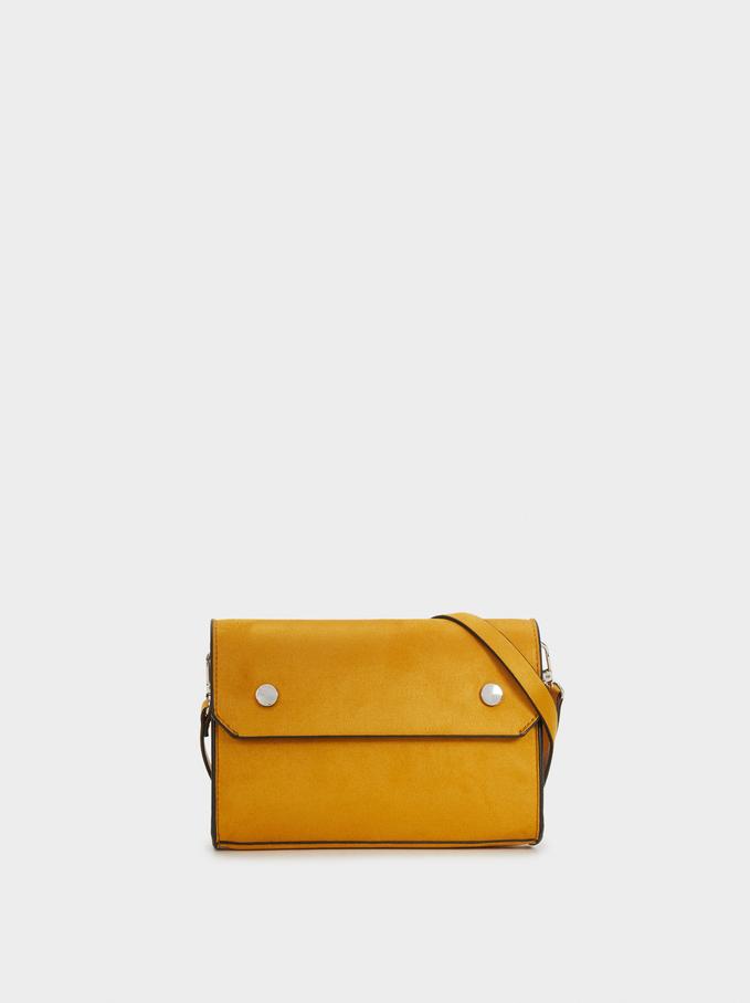 Suede Texture Shoulder Bag, Mustard, hi-res