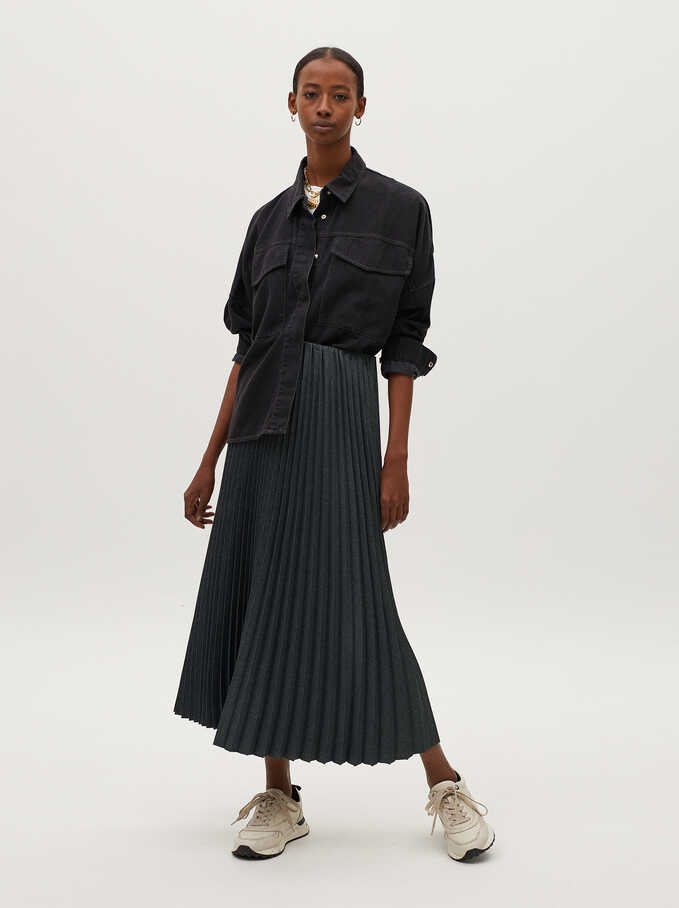 Pleated Skirt With An Elastic Waistband, Grey, hi-res