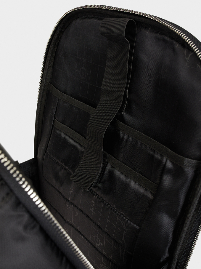 Nylon Backpack, Black, hi-res