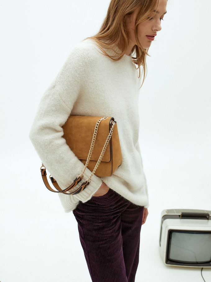 Crossbody Bag With Combined Leather Handle, Camel, hi-res