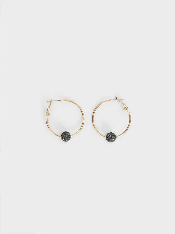 Faux Diamond Cluster Medium Hoop Earrings, , hi-res