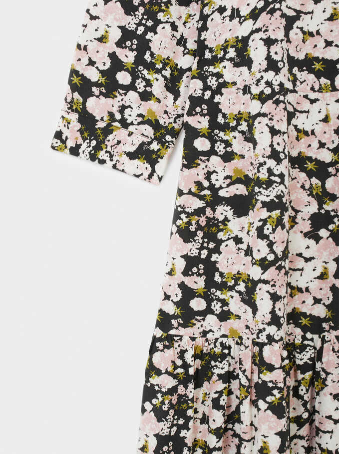 Floral Print Shirt Dress, White, hi-res