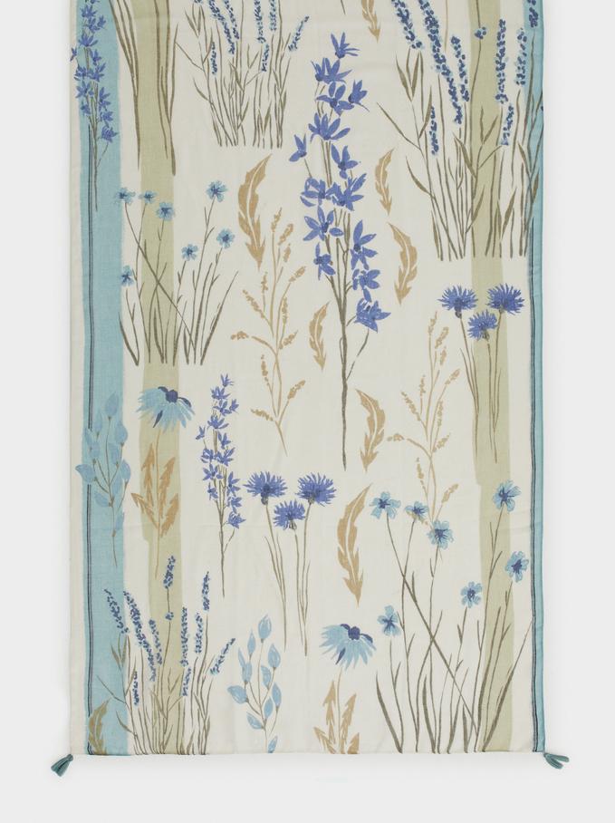 Foulard À Imprimé Floral, Bleu, hi-res