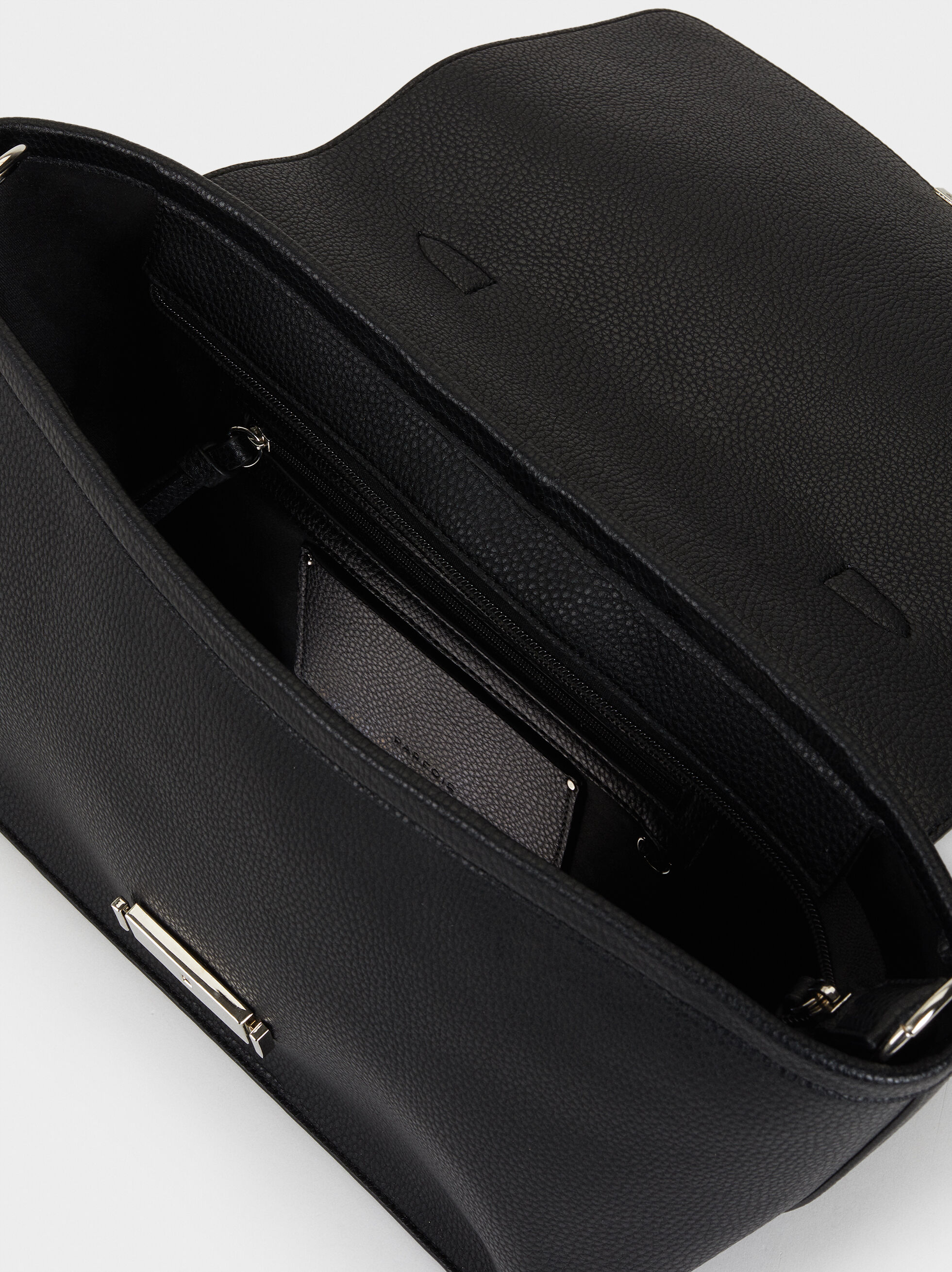 Briefcase With Faux Bamboo Flap, Black, hi-res
