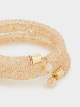 Gold Adjustable Bracelet With Beads, Pink, hi-res