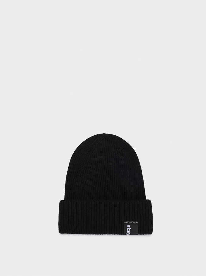 Knitted Turn-Up Stay Cool Hat, Black, hi-res