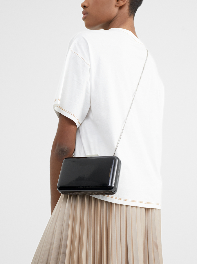 Glossy Clutch, Black, hi-res