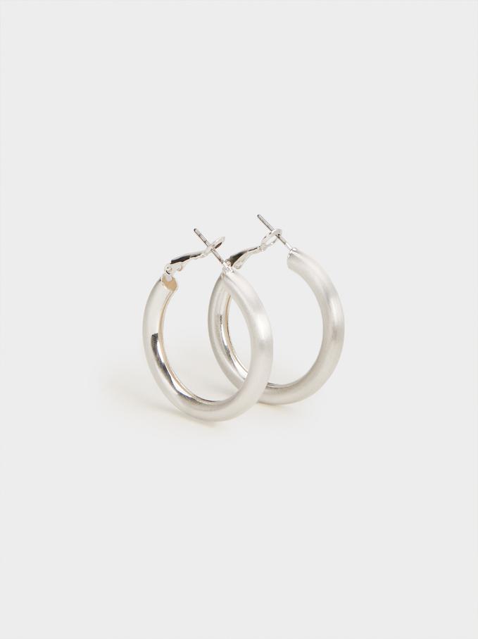 Hoop Fever Basic Medium Hoop Earrings, Silver, hi-res