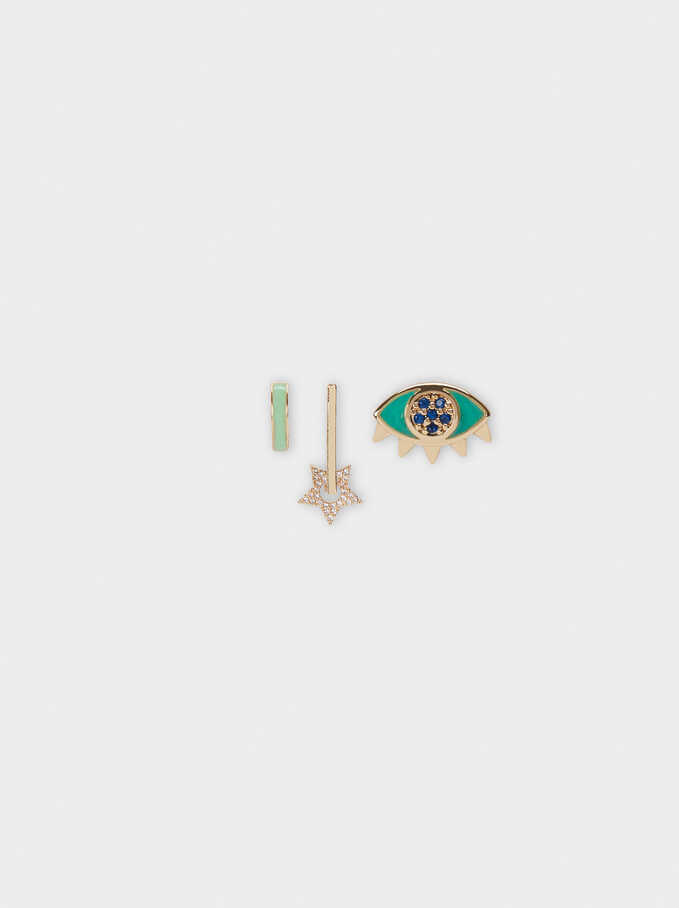 Set Of Earrings With Eye And Star, Multicolor, hi-res