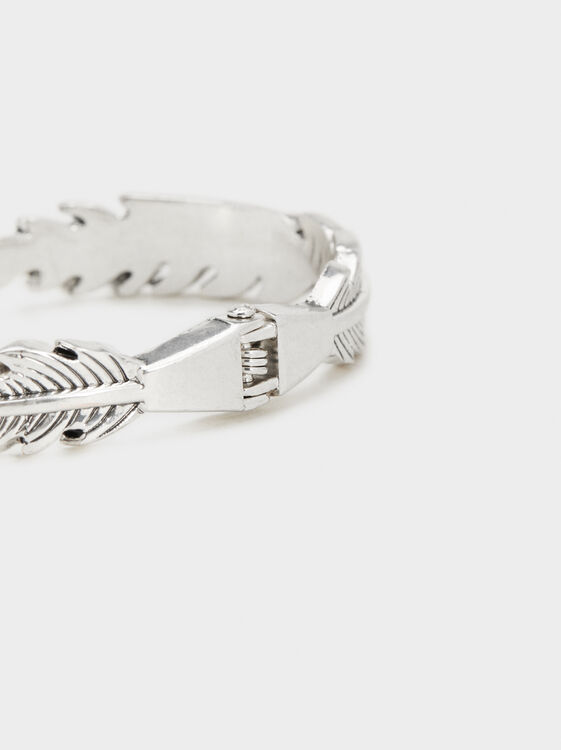 Non-Adjustable Feather Bracelet, Silver, hi-res