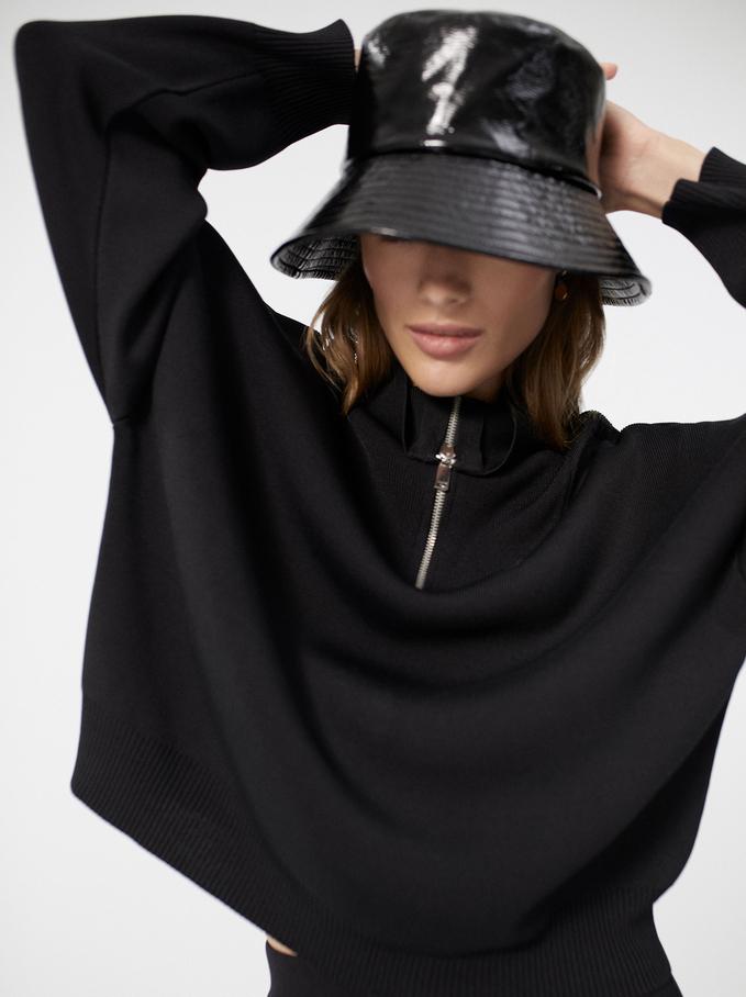 High Neck Sweater With Zip, Black, hi-res