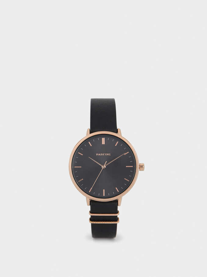Black Metal Watch With Rose Gold Details, Black, hi-res
