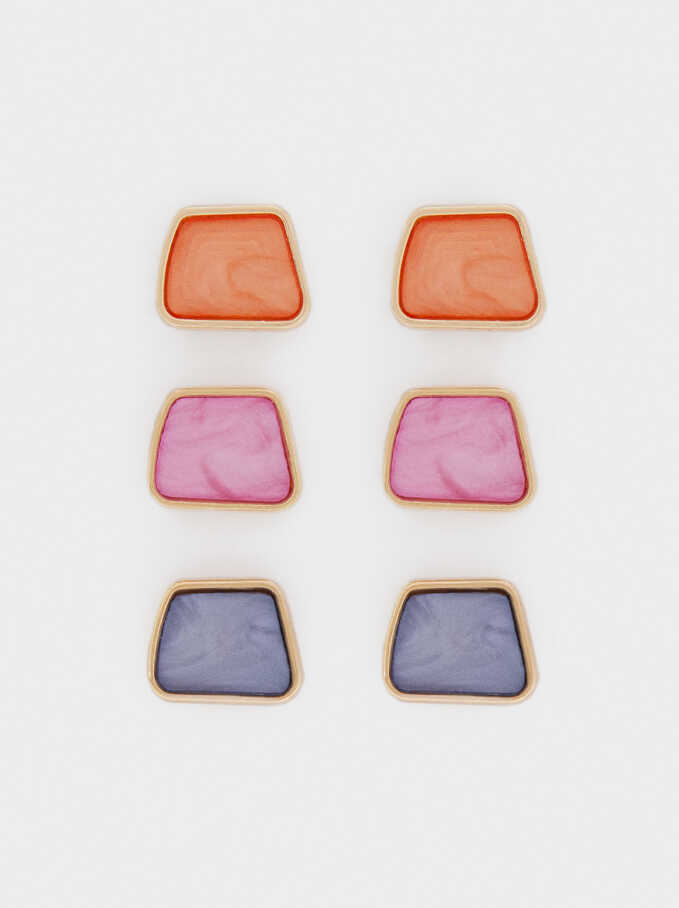 Multicoloured Earrings Set, Multicolor, hi-res