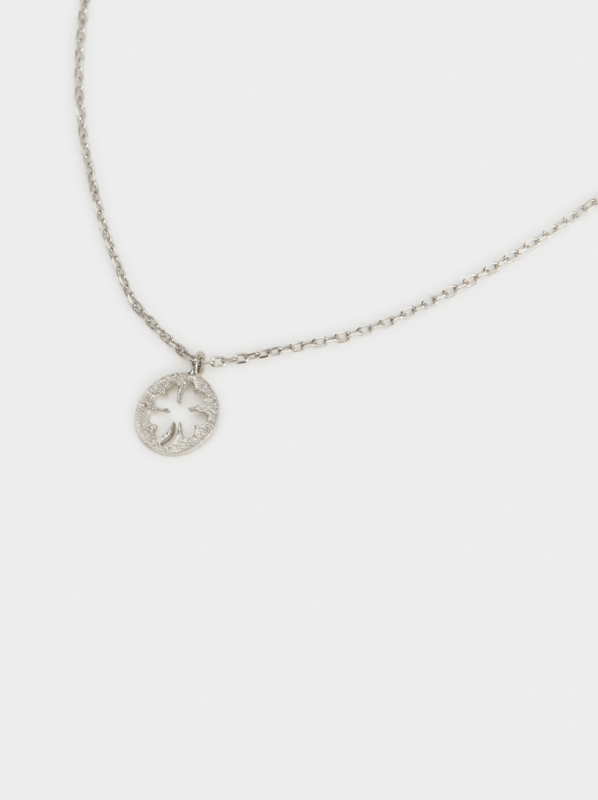 Short 925 Silver Shamrock Necklace, Silver, hi-res