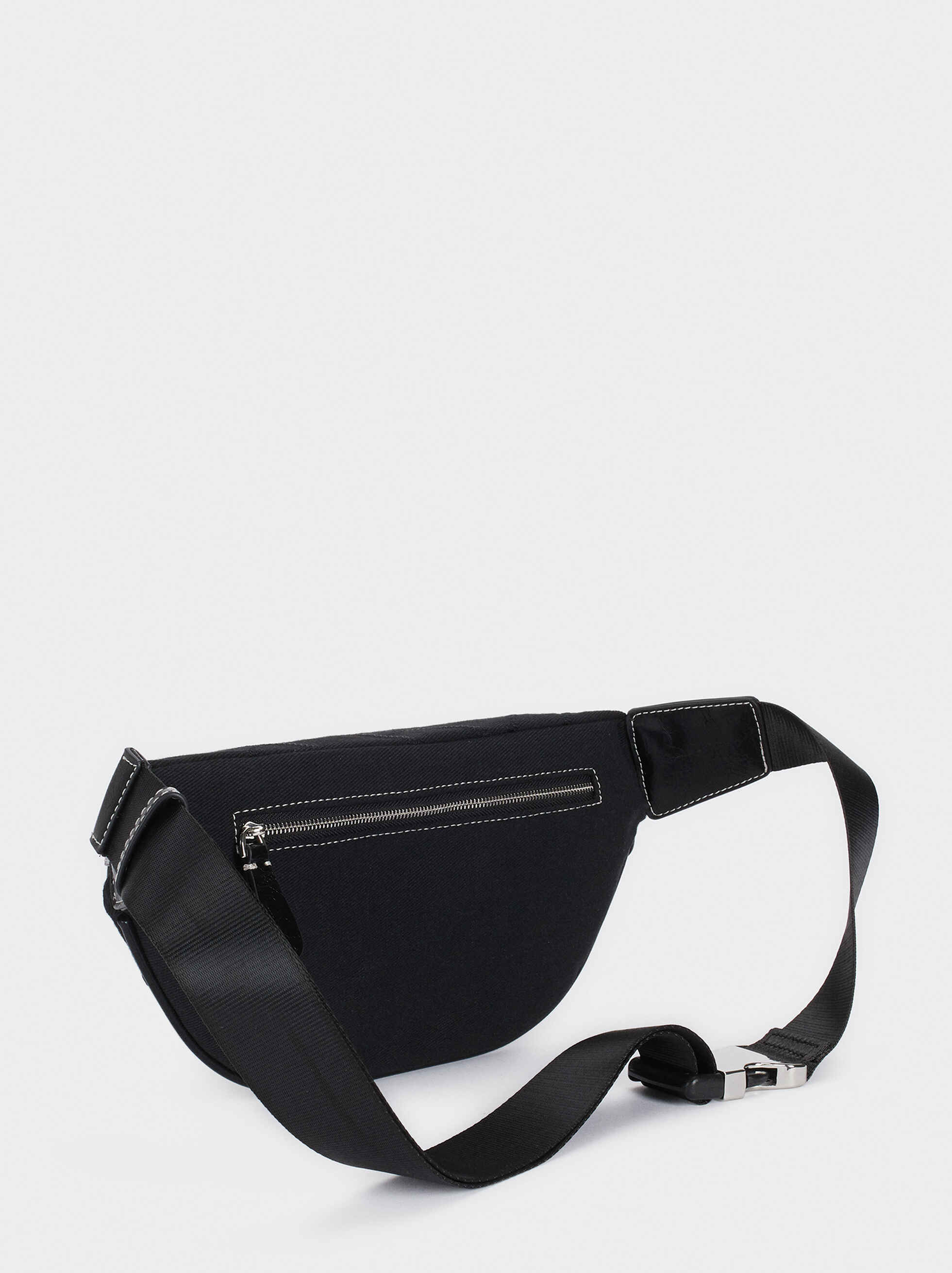 Belt Bag With Zip Fastening, Black, hi-res