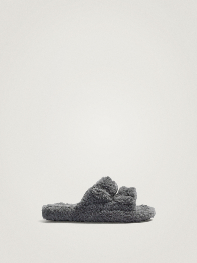 Faux Fur Slippers With Buckles, Grey, hi-res