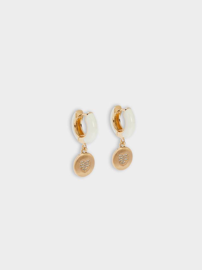 Hoop Earrings With Heart, Golden, hi-res