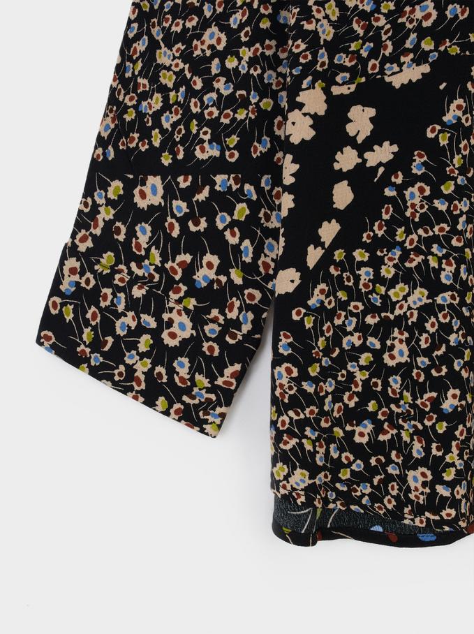 Floral Print Flowing Shirt, Black, hi-res