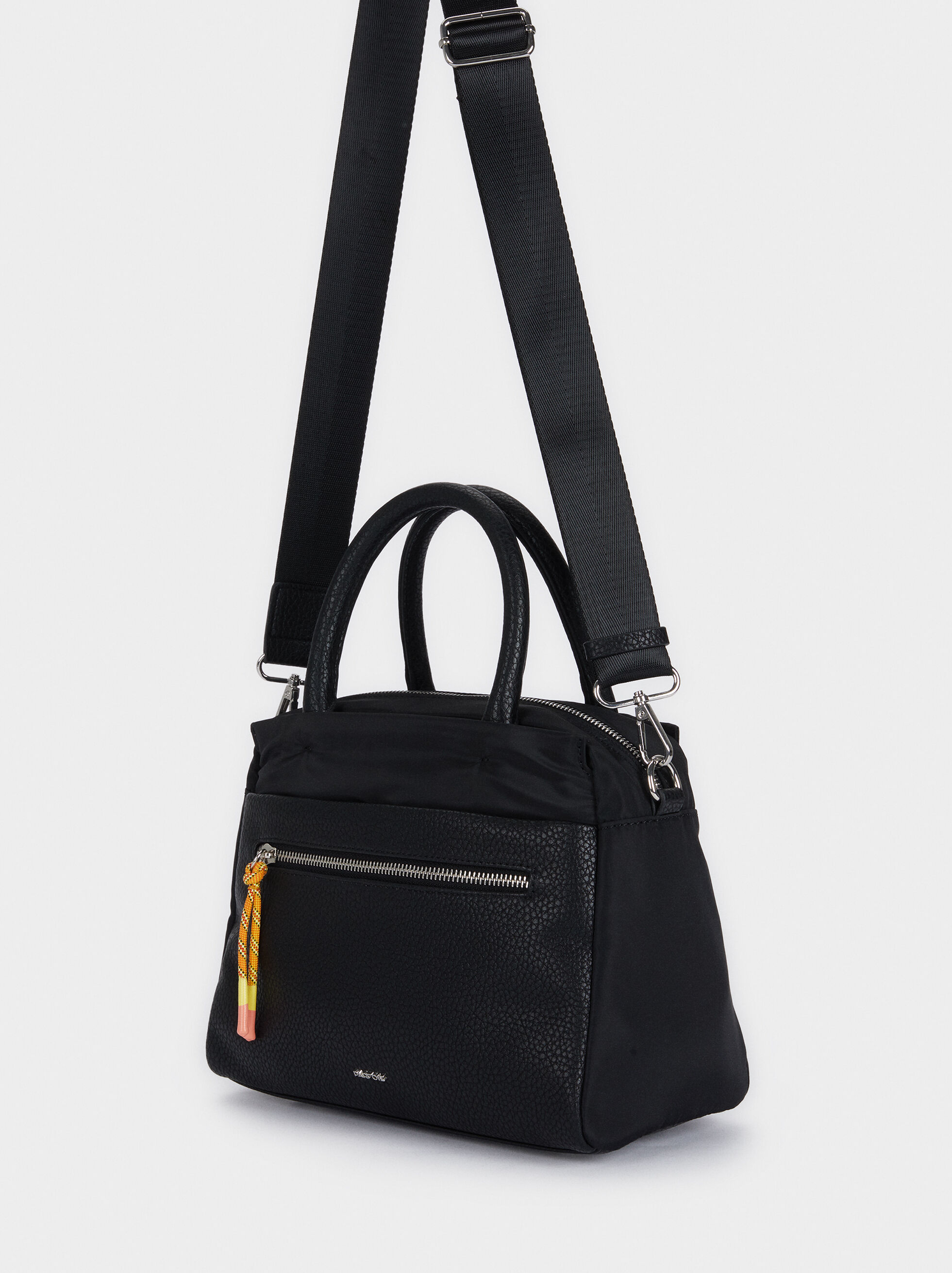 Nylon Tote Bag With Shoulder Strap, Black, hi-res