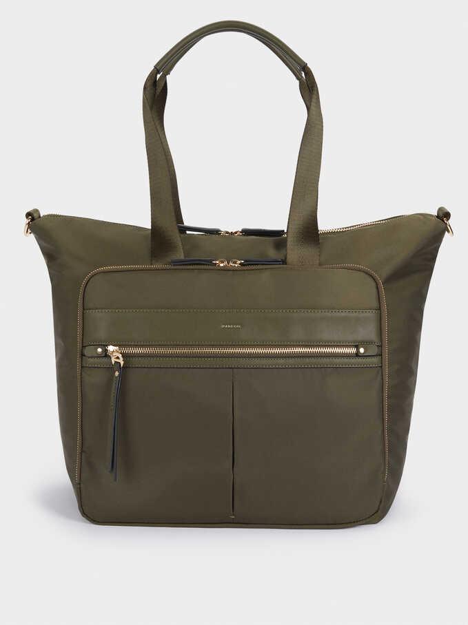 Nylon Weekend Bag, Khaki, hi-res