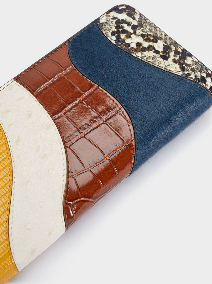 Long Patchwork Wallet, Blue, hi-res