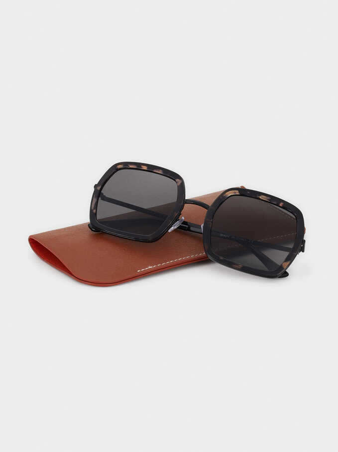 Square-Cut Sunglasses, Brown, hi-res