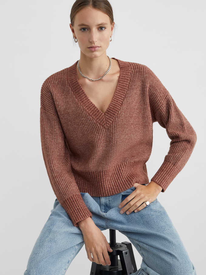 Knitted V-Neck Sweater, Pink, hi-res