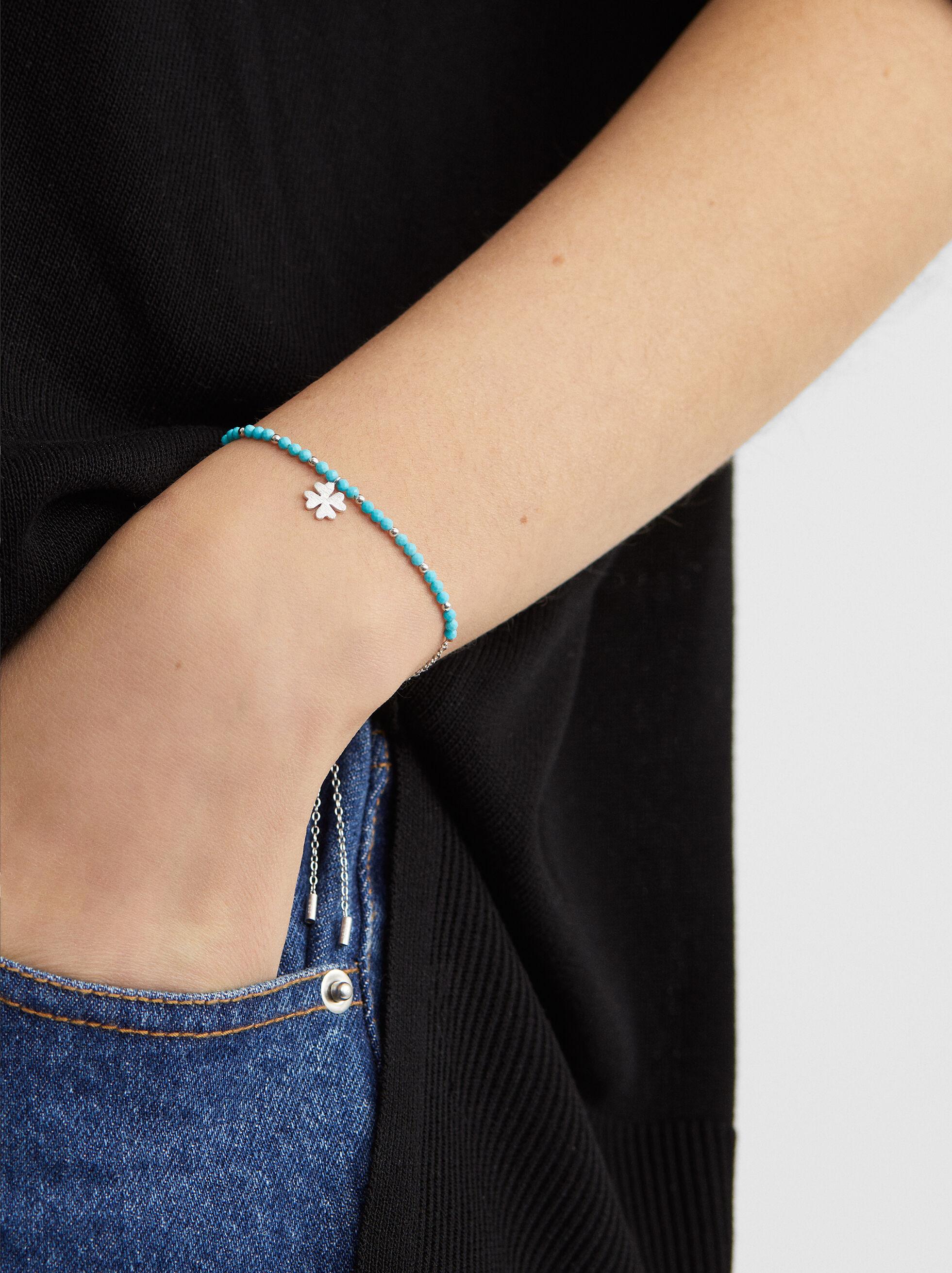 925 Silver Clover Bracelet, , hi-res