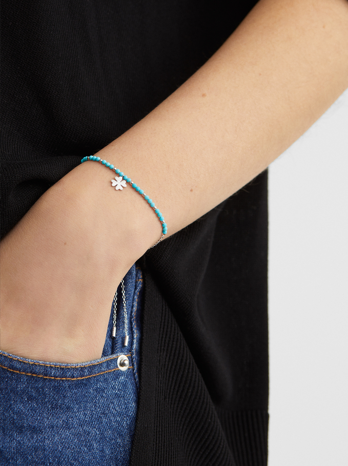 925 Silver Clover Bracelet, Multicolor, hi-res