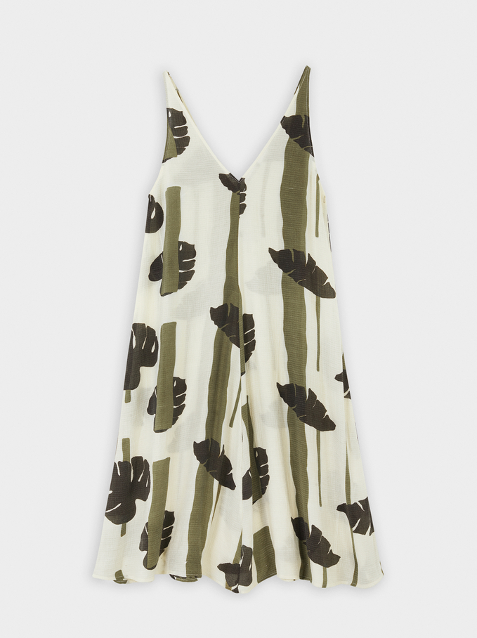 Leaf Print Strappy Dress, Khaki, hi-res