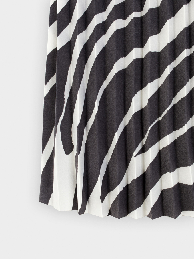 Printed Skirt With Elastic Waistband, Ecru, hi-res