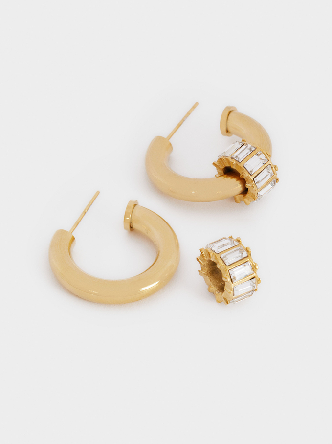 Stainless Steel Small Hoop Earrings With Crystals, Multicolor, hi-res