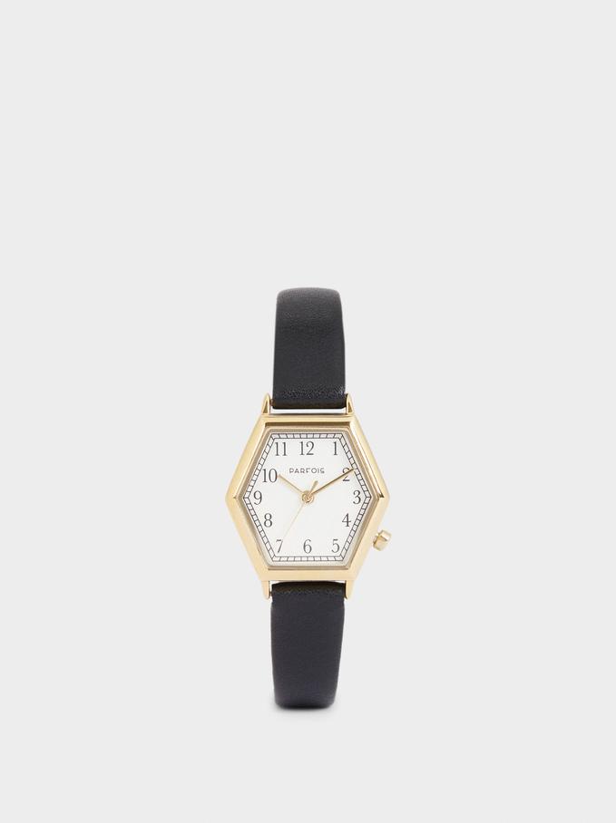 Hexagonal Case Watch, Black, hi-res