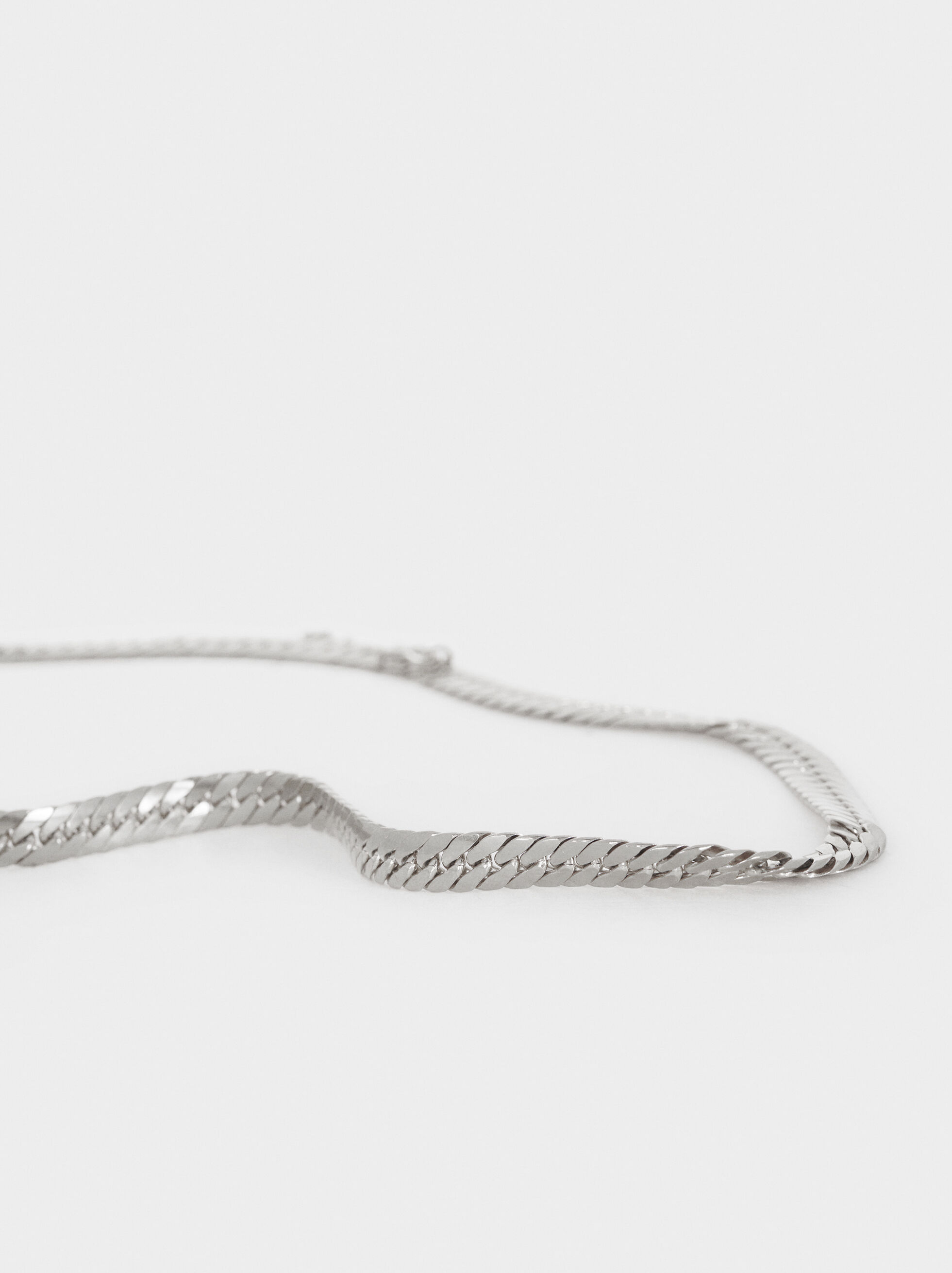 Short Steel Chain Necklace, Silver, hi-res
