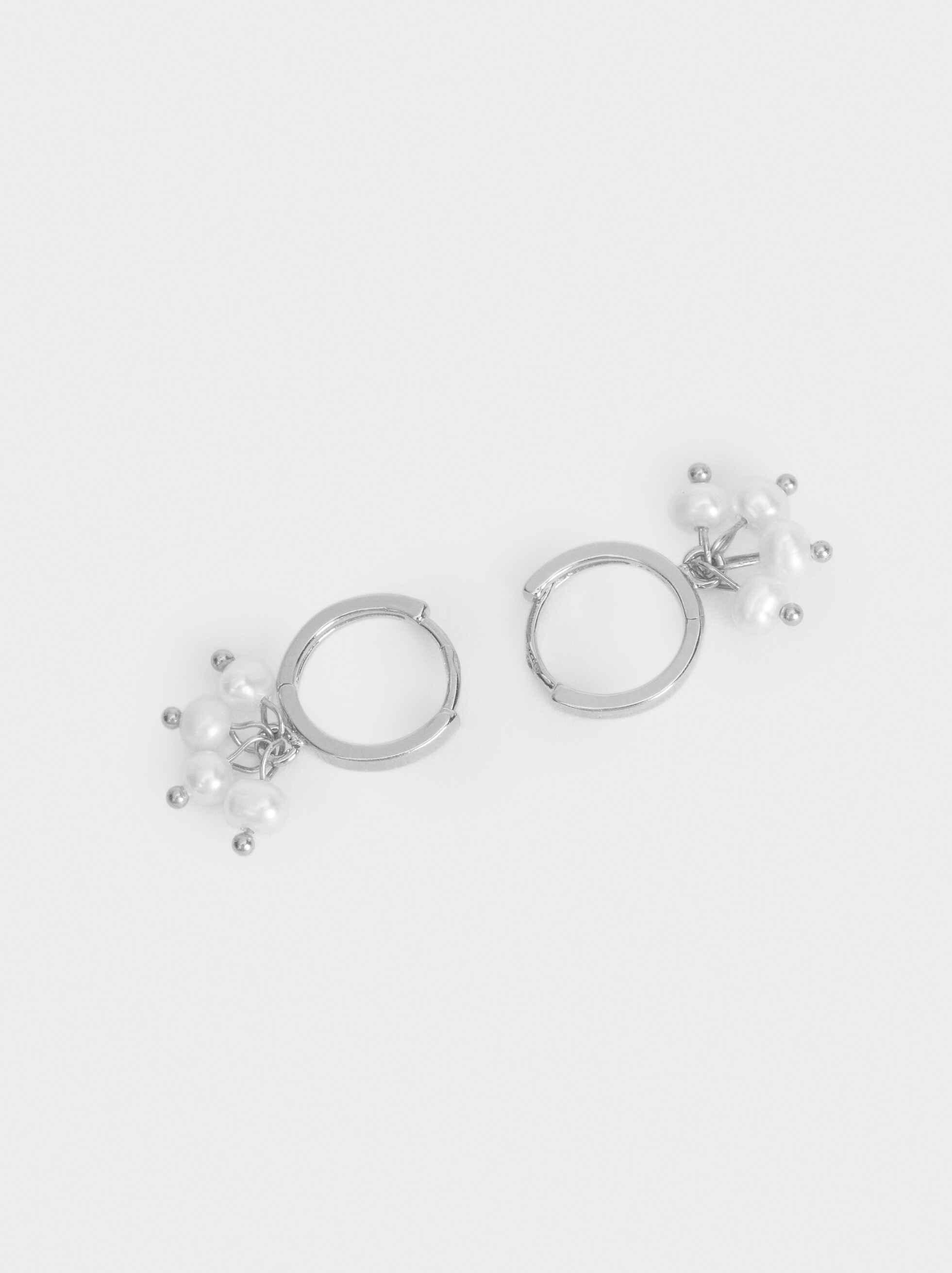 925 Silver Balls Hoop Earrings, Beige, hi-res