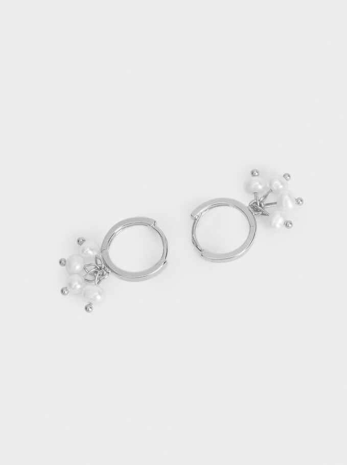 925 Silver Balls Hoop Earrings, Beige, hi-res