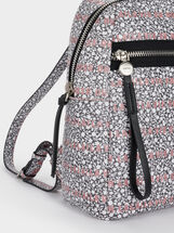 Floral Print Backpack, Grey, hi-res