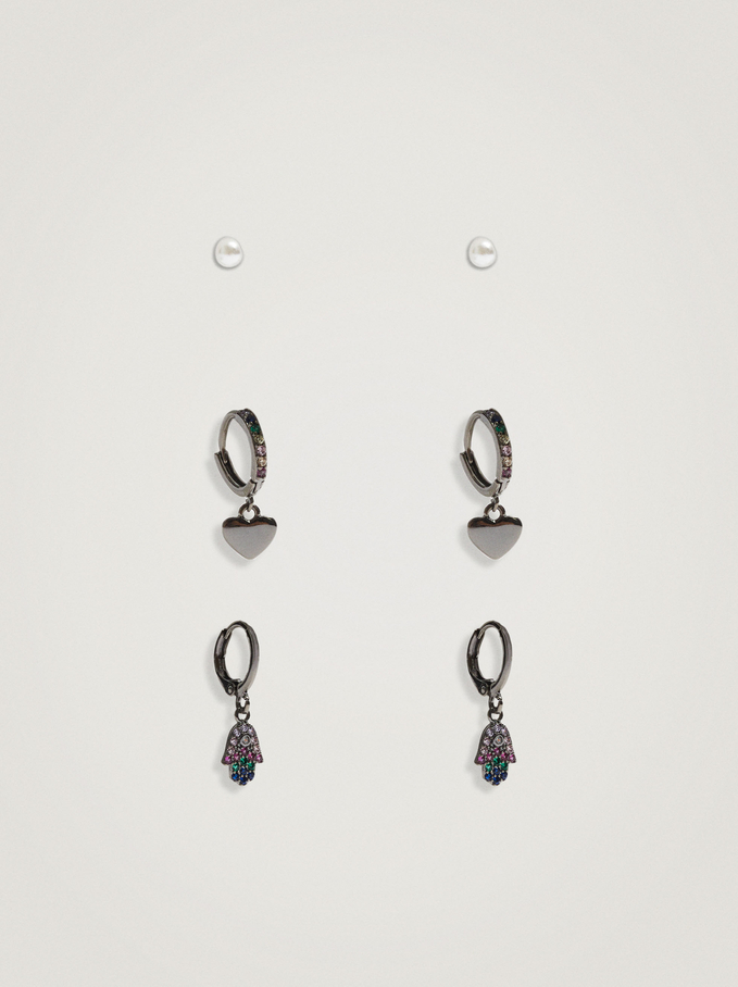 Set Of Earrings With Charms And Zirconia, Multicolor, hi-res