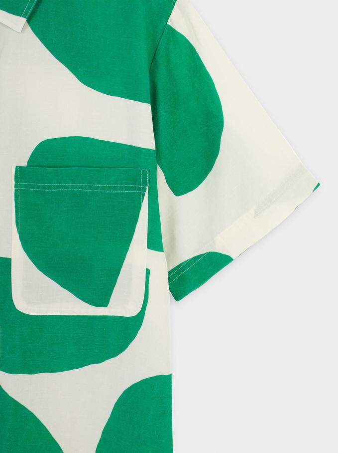 Linen Dress With Buttons, Ecru, hi-res
