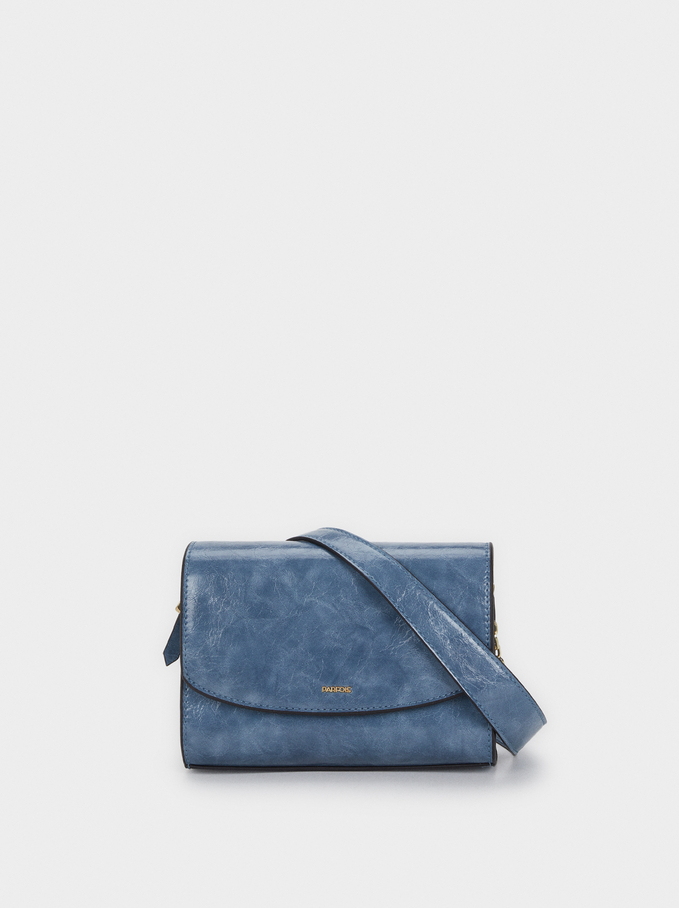 Cross Body Bag With Chain Strap, Blue, hi-res