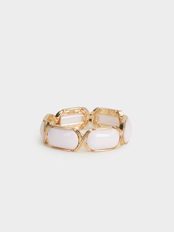 Land Elasticated Bracelet With Stones, Pink, hi-res