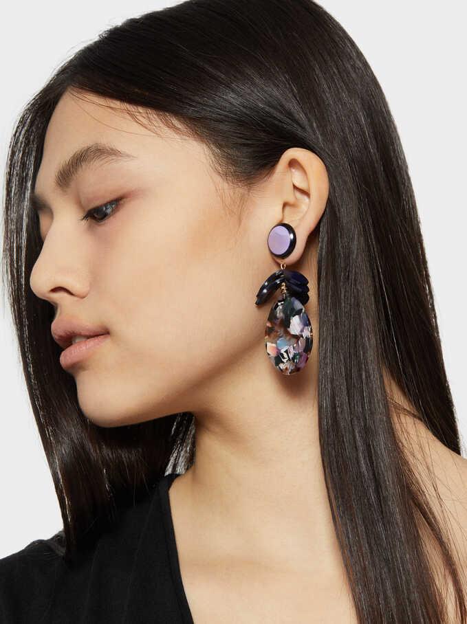 Long Gleam Color Earrings, Multicolor, hi-res